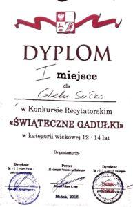 Диплом победителя конкурса на польском языке