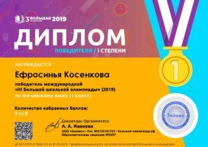 Диплом победителя международной олимпиады по английскому языку